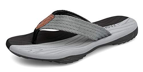 ChayChax Chanclas Hombre Deportivas Sandalias de Playa y Piscina Suave Zapatillas Antideslizante Verano Flip Flops,Negro Gris,42 EU