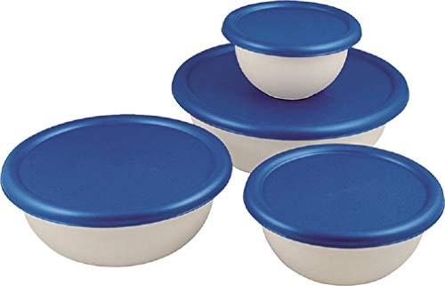 Sterilite 07479406 8 Piece White & Blue Covered Bowl Set