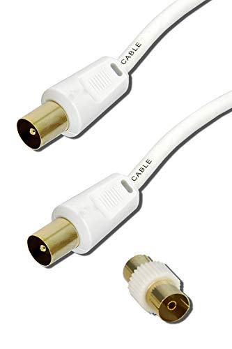 ConnectingU - Cable de antena de televisión macho a macho con acoplador hembra a hembra 0,5 m blanco