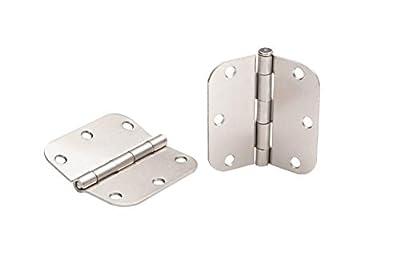 Global Door Controls 3.5 in. x 3.5 in. Satin Nickel Plain Bearing Steel Hinge with 5/8 in. Radius - Set of 2