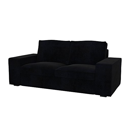 Soferia - Bezug fur IKEA KIVIK 2er-Sofa, Eco Leather Black