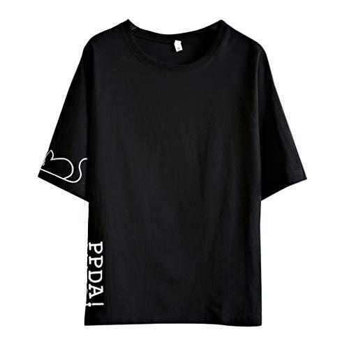 GreatestPAK Baumwolle Leinen T-Shirt Herren Kurzarm Freizeit Tops Briefdruck Rundhals Hemd,Schwarz,M