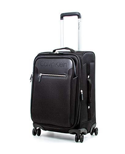 Calvin Klein Flare Softside Spinner Luggage, Black, 21 Inch