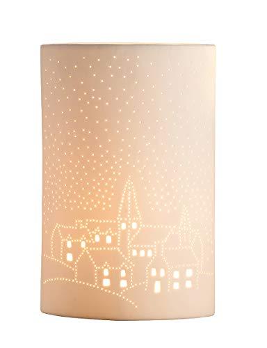 GILDE Lampe Kirche - aus Porzellan mit Lochmuster im Prickellook Höhe 28 cm
