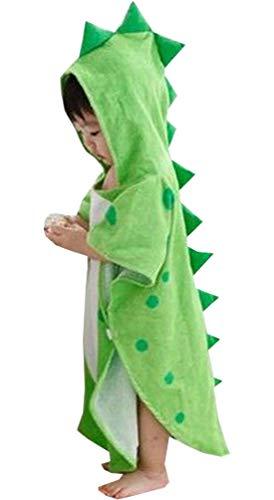 Alltops Kids Cotton Hooded Towel Cartoon Unicorn Dinosaur Bathrobe Bath Poncho Towel for Boys Girls, 0-4 years, Green Dinosaur