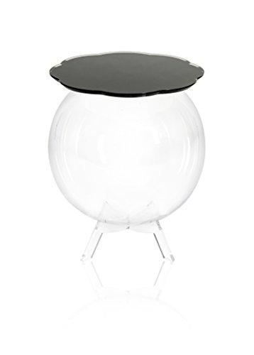 Iplex Design Bollino Tavolino/Comodino Contenitore, Plexiglass/PMMA, Nero/Trasparente