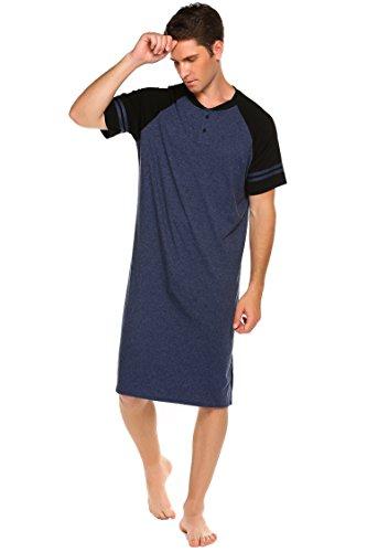 Nachthemd Herren Kurzarm Schlafanzug Nachtwäsche mit Knopfleiste Knielang Schlafkleid für Männer Sommer