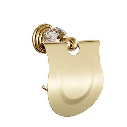 Porta papel higiénico Acero inoxidable Rollo de inodoro Tenedor de papel Europeo real Royal CRISTAL CRISTAL BAJILLO MONTAJE MONTAJE Papel de tejido Estantería de baño de oro Accesorios de baño (color: