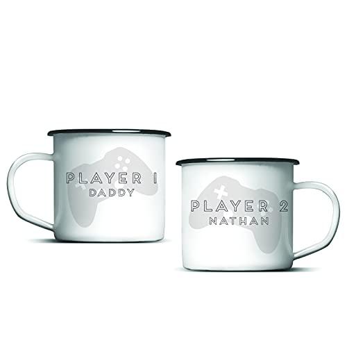 Juego de tazas esmaltadas totalmente personalizadas, para jugador, padre e niño, mejores amigos, hermanos, regalo perfecto para el día del padre