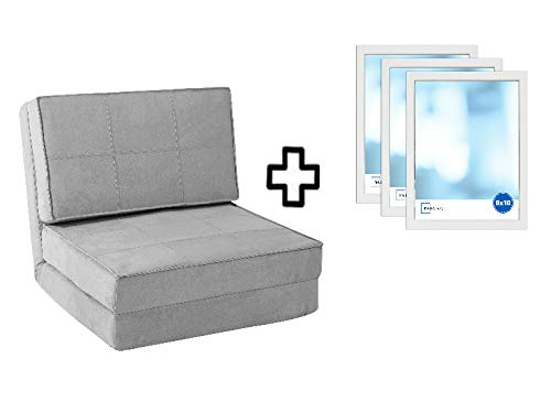 Your Zone - Flip Chair Convertible Sleeper Dorm Bed Couch Lounger Sofa and 8x10 Set of 3 Frames Bundle, Silver