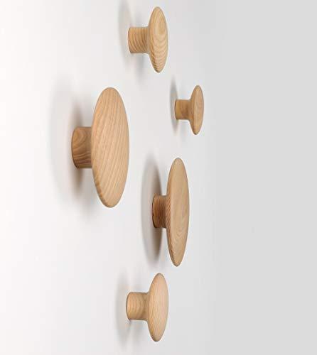 JUUSFJI 5 Punkte Kleiderhaken Wandhaken Holzbügel für Zuhause (Holz)