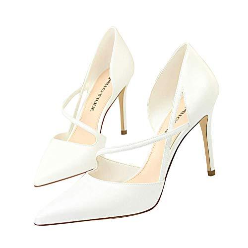 Minetom Sandali Donna Estate Party Pelle Moda Cava Dolce Elegante Colore Misto Sandals Bocca Superficiale Sottile Tacco Alto Bride di Festa A Bianco 34 EU