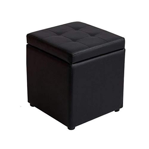Tabouret en bois de tabouret de pied avec le support carré de stockage de tabouret de repose-pieds rembourré de cuir PU pour le salon | Couloir robuste 30x30x35cm (3 couleurs) (Couleur : NOIR)