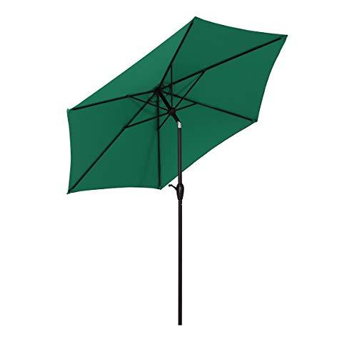 Sekey sombrilla Parasol para terraza jardín Playa Piscina Patio diámetro 270 cm Protector Solar UV50+ Bosque Verde