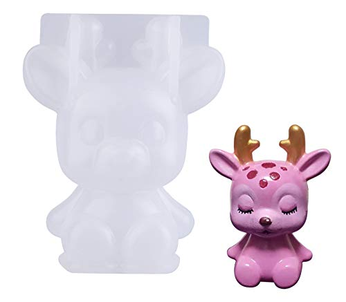 Epoda Silikonform Gießform, 3D-Tierharz-Resin silikonform für Hirsch, Silikon Harzform für die Herstellung von Dekoration, Weihnachten