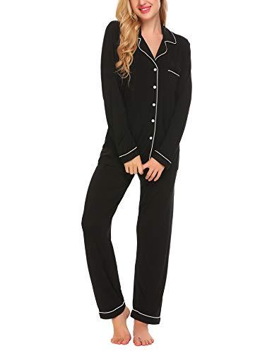 Lucyme Damen Pyjamas Set Elegant Modal Langarm Schlafanzug mit Knopfleiste Zweiteiliger Lang Nachtwäsche Sleepwear XS-XXL, Schwarz 337, EU 40(Herstellergröße: M)
