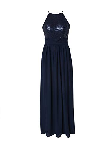 STAR NIGHT Damen Abendkleid Long Dress (American Cut) Chiffon & Sequins Navy 40