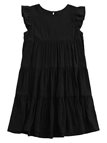 Romwe Women's Cap Short Sleeve Round Neck Button Ruffle Cuff Solid Babydoll Summer Smock Dress Black XS