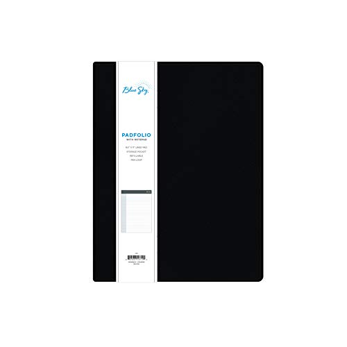 """Blue Sky Professional Padfolio, 9.5' x 12', Textured Faux Leather Cover, Black, 8.5"""" x 11' Paper Notepad Included, 14714"""