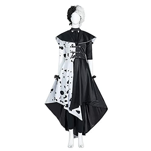 Rubyonly Nouveau Cruella de Vil Halloween Costume Witch Handamde 2021 Cosplay Costume Robe Ensembles,S