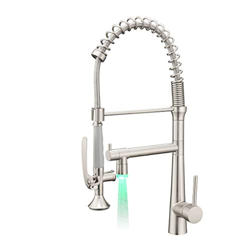 AIMADI Pull Down Kitchen Faucet with Sprayer,Commercial Single Handle Stainless Steel Brushed Nickel...