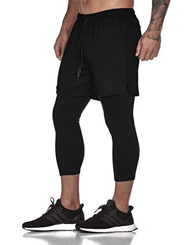 COOFANDY Men's 2 in 1 Active Pant Shorts Gym Running Training Compression Pants Black