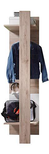 trendteam smart living  Garderobe Gardrobenpaneel Campus, 47 x 187 x 30 cm in Eiche San Remo Hell (Nb.), Absetzung Weiß mit drei Kleiderhaken und Kleiderstange