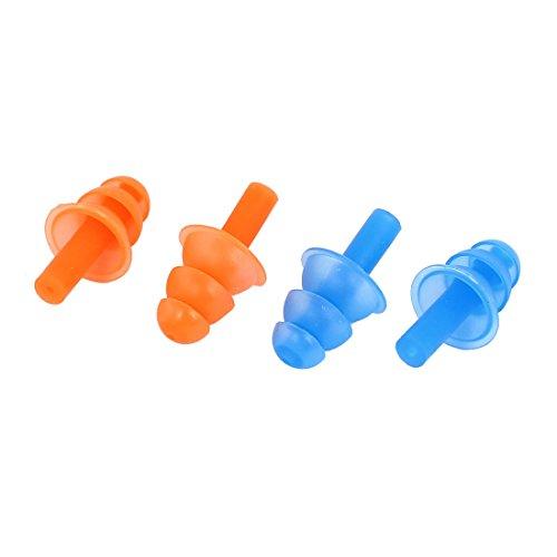 4Stk Orange Blau Silikon Ohrenstöpsel Ohrstöpsel für Schwimmen Schwimmtraining de