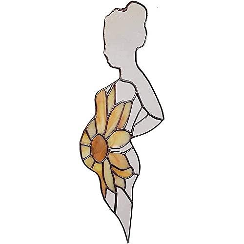 KJSDHAE Vitral para madre embarazada, vidrieras en forma de embarazo, mosaico, girasol, embarazada, mamá, decoración para colgar