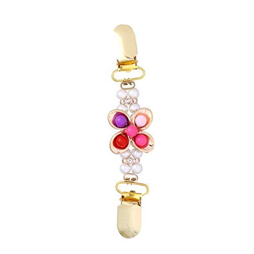 Fenical Frau Cardigan Clip Pullover Clip mit Perlen Blumen für Kleider Schal Bluse (Zufällige Farbe)