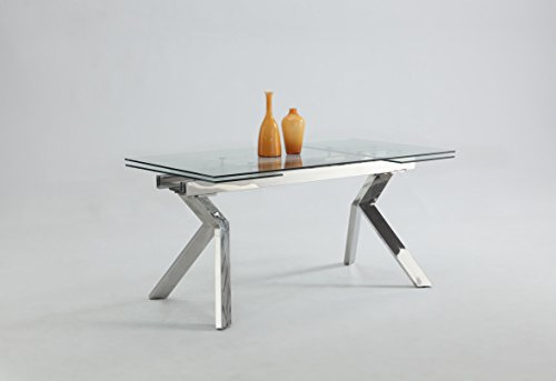 MILAN DT Elora Extendable Dining Table with Butterfly Legs, Silver