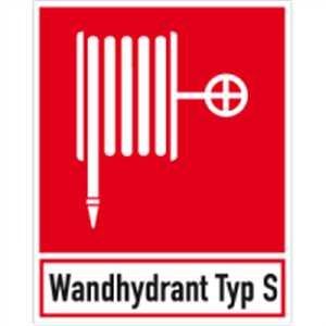 Stickers blusserslang met tekst: Wandhydrant Type S-folie 25 x 20 cm