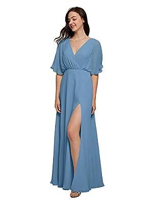 Alicepub V-Neck Dusty Blue Bridesmaid Dress Chiffon Long Formal Dresses for Women Party Evening Short Sleeves, US8