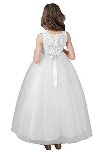 MisShow Mädchen Brautkleid A-Linie Ballkleid Festkleid mit Schleife im Rücken Weiß Abendkleid Maxilang Gr.150