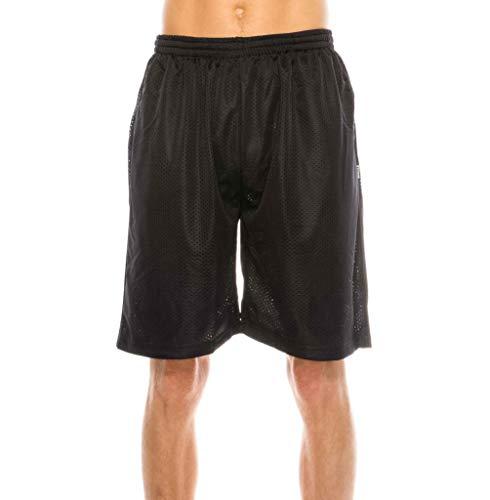 Mens Plain Mesh Shorts, 5XL, Black