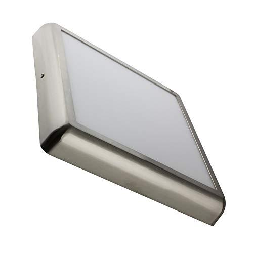 LEDKIA LIGHTING Plafón LED para Cocina, Comedor, Habitación, Baño 24W Cuadrado Design Silver Blanco Neutro 4000K - 4500K
