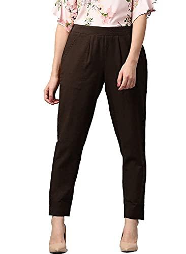 JISO Women Casual Wear Front Pleated Cotton Trouser
