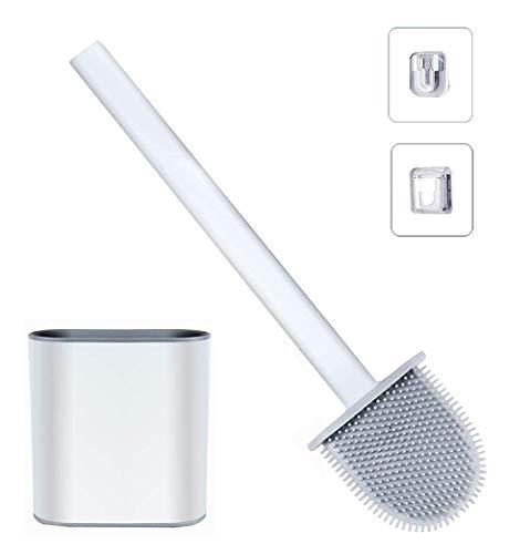 Escobilla WC Silicona - Escobilla Baño Silicona con Soporte de Secado Rápido,Escobillas WC con Mango Largo de Plástico Antideslizante y Cerdas Flexibles,Escobillas WC Montaje en Pared/Suelo