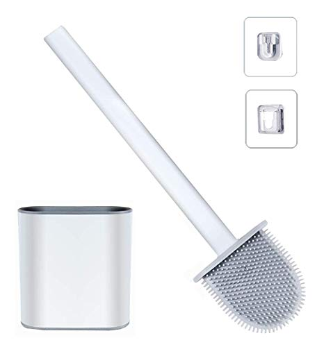 Scopino per WC, spazzola per WC in silicone e contenitore – Scopino per WC con set di...