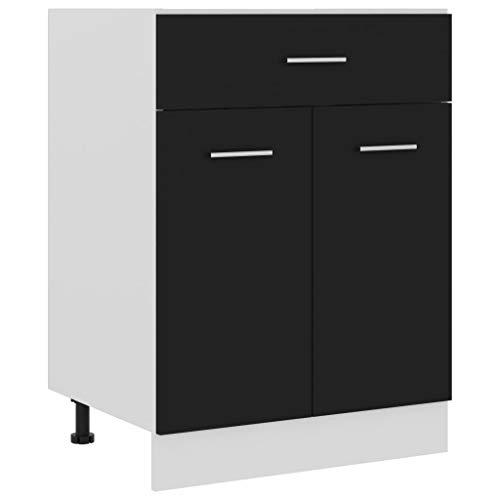 vidaXL Schubunterschrank mit 2 Regalböden 1 Schublade Schrank Küchenzeile Küchenmöbel Unterschrank Küchenschrank Schwarz 60x46x81,5cm Spanplatte