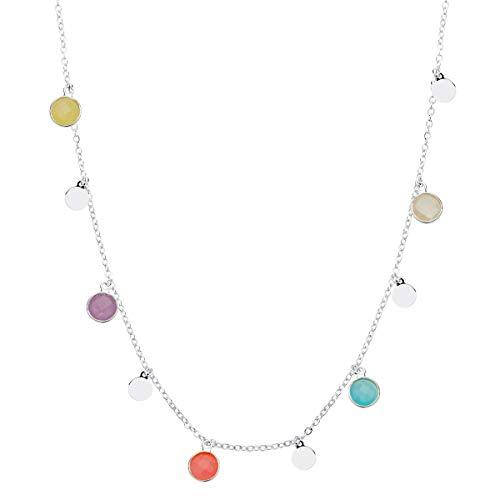 Iyé Biyé Collar Colgante Mujer niña Chapas Redondas Piedras Colores Plata de Ley 925 Bañado Oro Amarillo Cadena Forzada 45 cm Ajustable