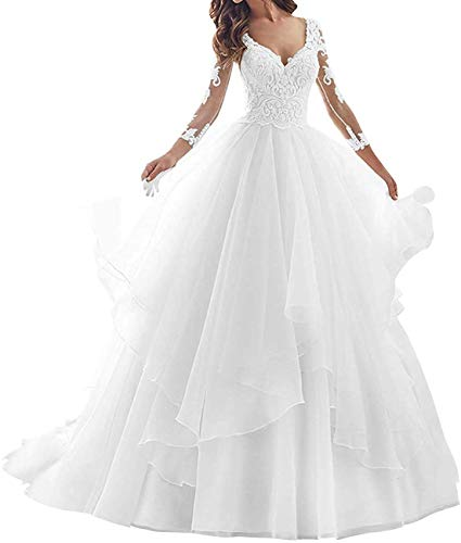 Hochzeitskleid Brautkleid V-Ausschnitt Damen Prinzessin Brautkleider A-Linie Langarm Weiß 46