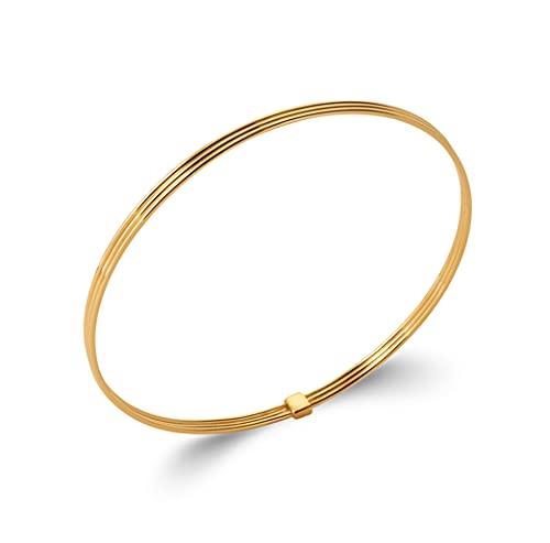 Tata Gisèle - Pulsera rígida chapada en oro de 18 quilates – rayada de 3 filas – cerrada – Bolsa de terciopelo de regalo