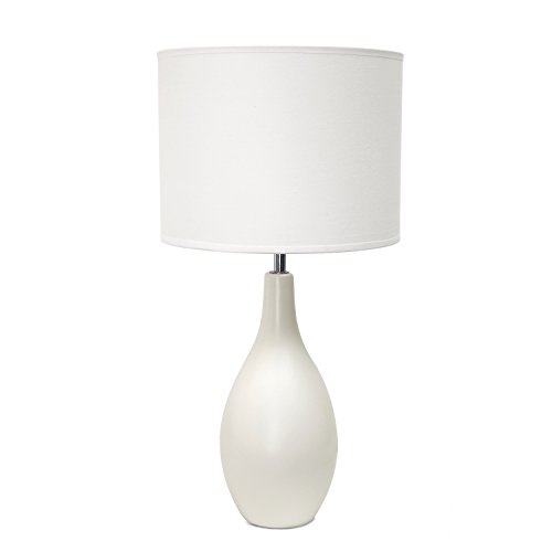 Simple Designs Oval Bowling Pin Base Ceramic Table Lamp, Off White