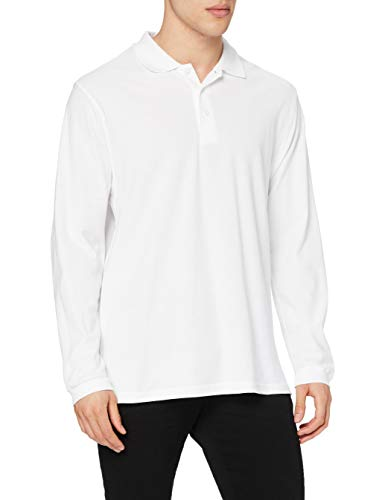 Fruit of the Loom Herren Premium Long Sleeve Poloshirt, weiß, XL