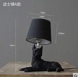 Art Decor hars tafellamp voor slaapkamer woonkamer kinderen bedlampje hond tafellamp zwart met lampenkappen A