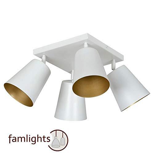 Preisvergleich Produktbild famlights Deckenleuchte Mariam aus Metall,  Weiß,  Gold / Deckenstrahler modern Deckenlampe Loft Bar Design Flur Schlafzimmer-Lampe Küchen-Leuchte edel Treppenhaus Wohzimmerstrahler Wohnzimmer-Lampe E27