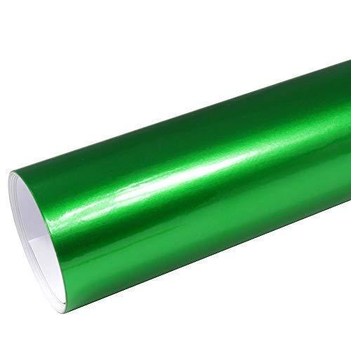 Rapid Teck® 8,55€/m² AutoFolie Serie z560 Candy Green Hochglanz 1m x 1,52m Grün selbstklebende Premium Car Wrapping Glanz Folie mit Luftkanal