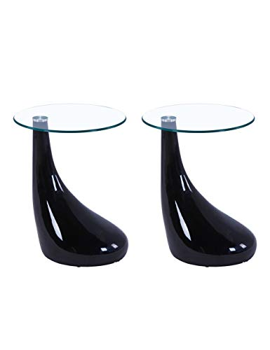 GOLDFAN High Gloss Coffee Side Tables Set of 2 Modern Living Room Sofa End Glass Tables Small Round Tables for Office, Black