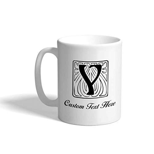 N\A Taza de café de cerámica Personalizada 11 onzas 'Y' azulejo Monograma Inicial Letra Y Taza de té Blanca Texto Personalizado aquí